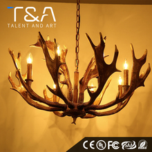 Antique chinese resin antler pendant chandelier with E27 Candle bulb
