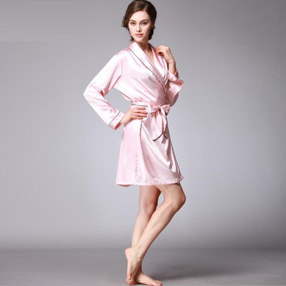 c06dd7d6f0 ALJL Luxury new silk women pajamas Light red sexy gowns long sleeves  bathrobes loose and comfortable