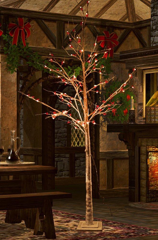 Fashionlite 6 Feet Red Fruits Snow Tree, 96 LED Lights, Warm White