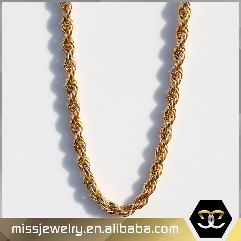 Missjewelry Wholesale Hip Hop Style 14k Solid Gold Rope Chain For ...