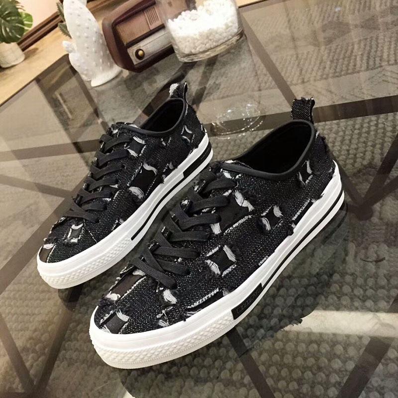 fabric casual shoes women bottom denim flat lace Shredded twvCqn