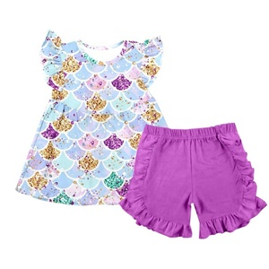 new summer girl outfits children's boutique clothing remake girls print clothes