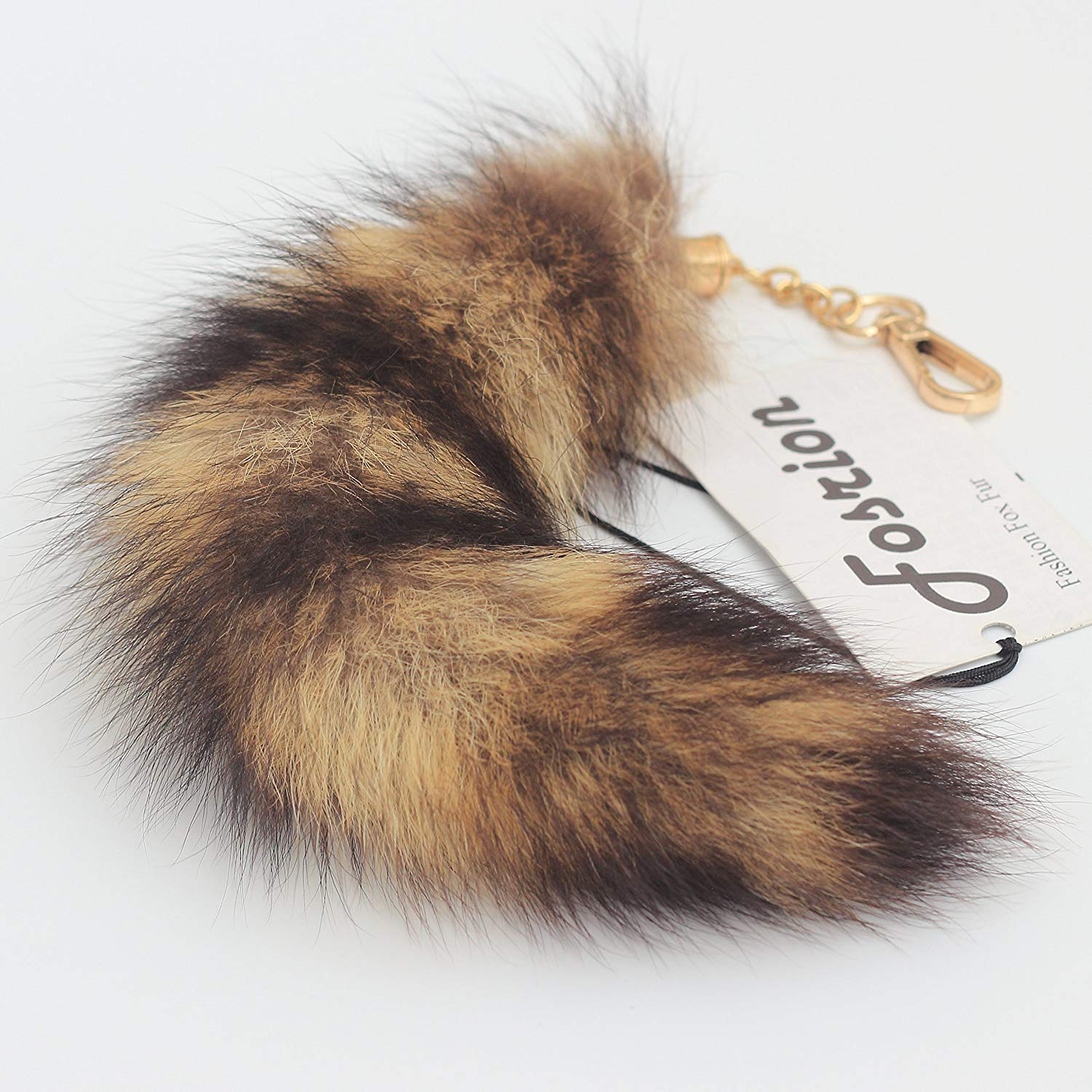 93441c58f Get Quotations · 10 inches Authentic America Raccoon Tail Fur Skin Cosplay  Toy Handbag Accessory Key Chain Ring Hook