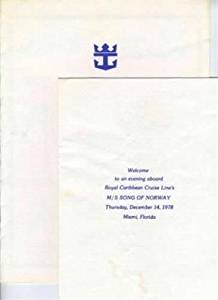 Song of Norway Special Dinner Menu & Program 1978 Royal Caribbean Cruise Line
