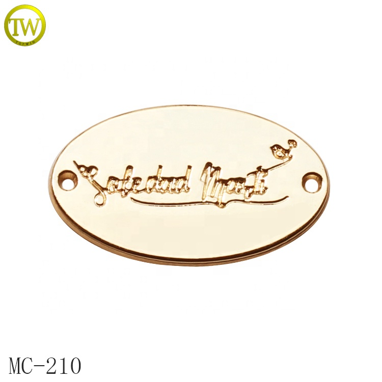 Custom printed logo engraving metal swimwear tags label for promotional