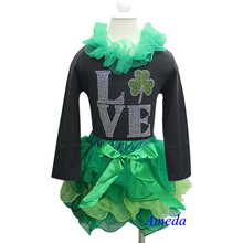 St Patricks Day Green Petal Tutu Plus Rhinestone LOVE Leaf Black Long Sleeves Top 1-7Y