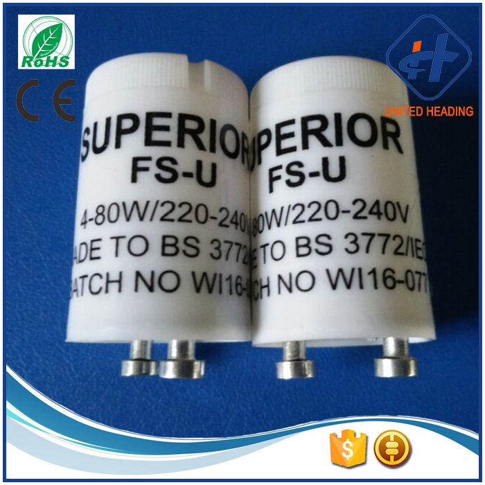 CE ROHS approved 4-80w FSU S10 fluorescent glow starter