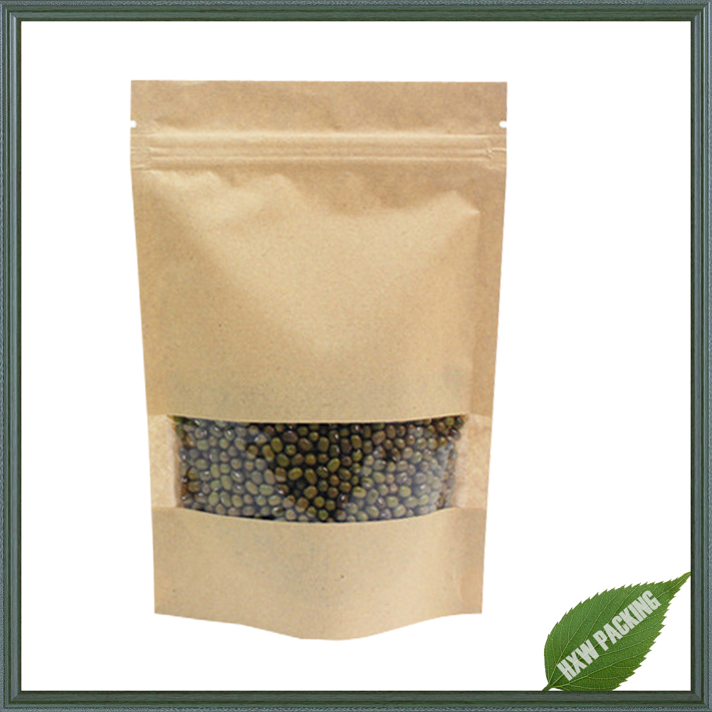 Stand Up Kraft Paper Food Packaging Bag With Window