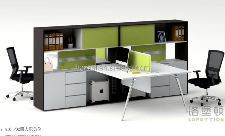 Mobilier de bureau moderne en forme de l bureau 2 places bureau
