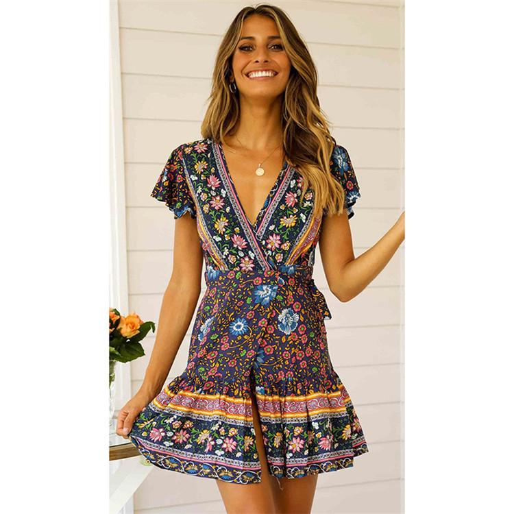 Customized Floral Print Mini Casual Summer Dress, Casual Boho Women Summer Dress