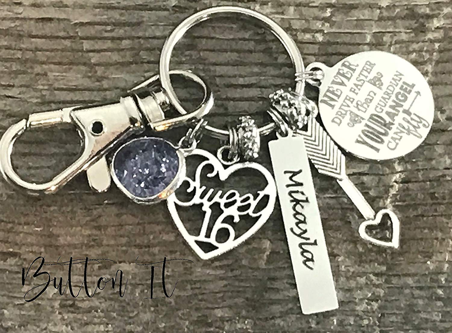 Get Quotations Sweet 16 Key Chain Never Drive Faster Than Guardian Angel Can Fly Birthday Gift