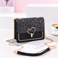 9F152 korean shoulder bags simple ladies chain crossbody fashion women sequin cosmetic bag