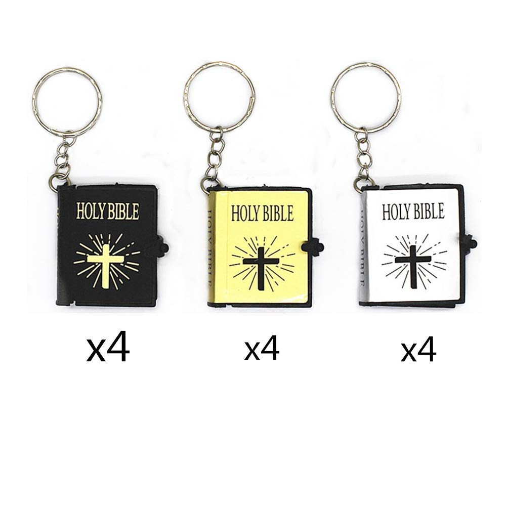 Get Quotations · TANG SONG 12PCS Real Miniature Bible Key Chain English  Holy Bible Religious Gift Baptism Favors Keychain fa408ceb3e50