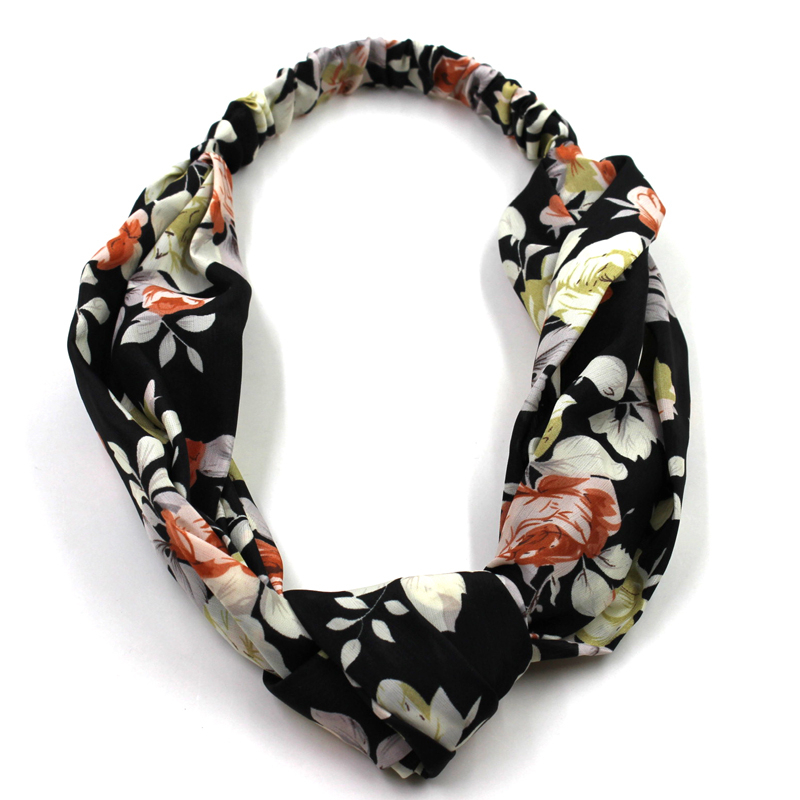 Women fashion floral hair accessories custom printing elastic head wrap