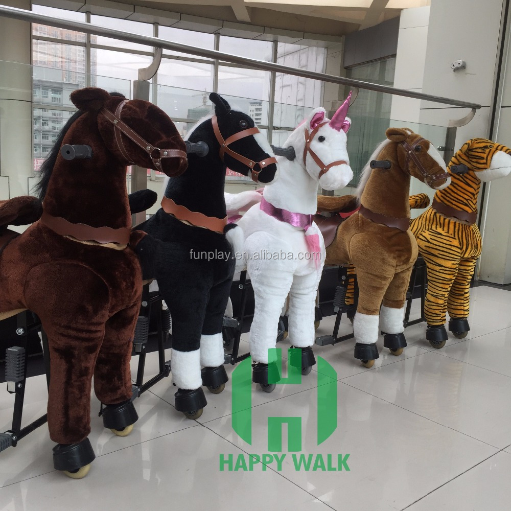 Factory wholesale mechanical riding horse animal kids walking rides toys for sale