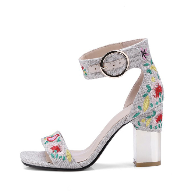 Embroidered mules shoes women chunky heel sandals