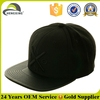 Custom Embroidered Flat Brim Black Leather Snapback Cap Wholesale