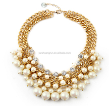 Fashion Gold Chain White Faux Pearl Cluster Necklaces Chunky Choker Necklace Statement Bib Necklace
