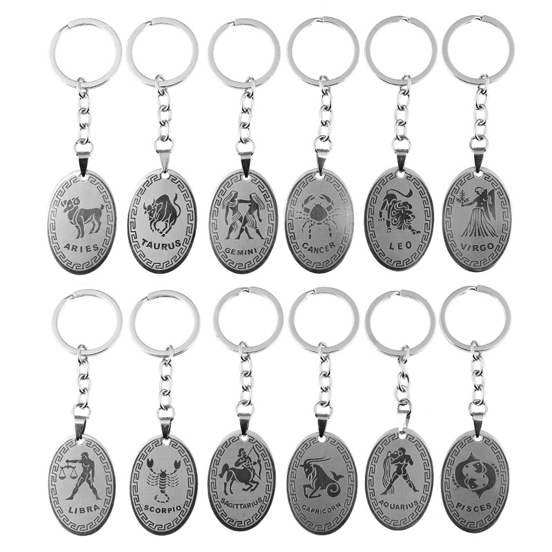 MOQ 112PCS 12 Constellation Stainless Steel Keychain Pendant Fashion Key Chain American Keyring Women Jewelry Free Shipping