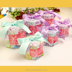 Wholesale new European paper hexagonal candy box folding wedding banquet gift box with window