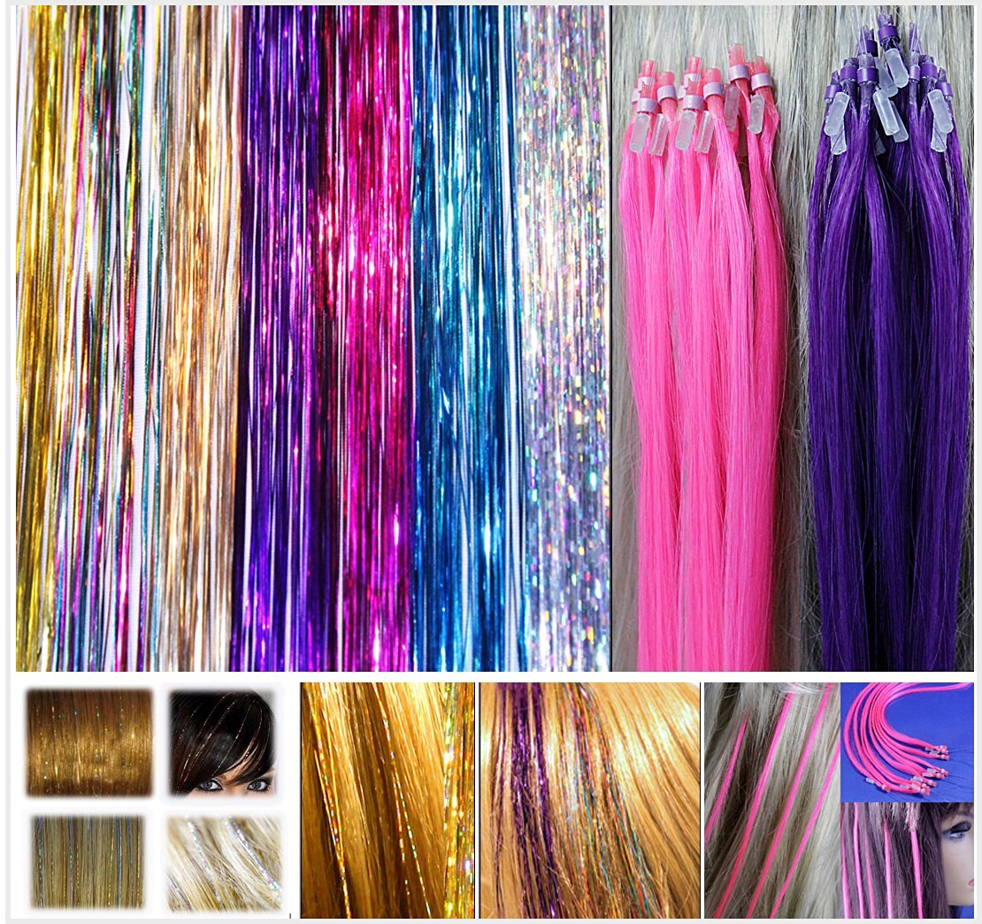 Buy 320 Pc Set 40 Sparkling Shiny Hair Tinsel Seven Colors