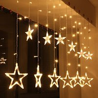 Wholesale Twinkle Star 12 Stars 138 LED Curtain Light Wall Art Decorations Light Curtain