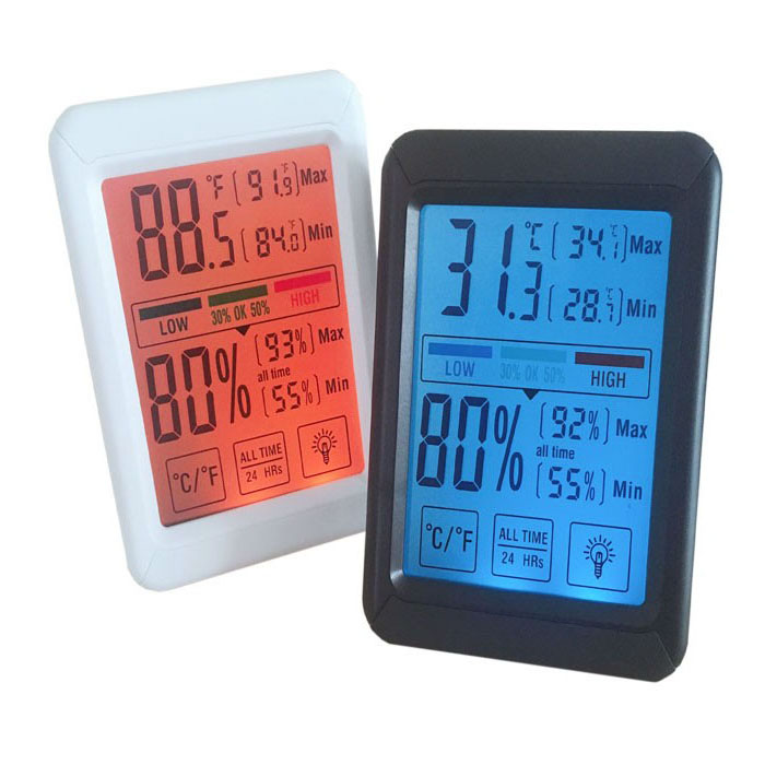 J & R Multifunctionele Digitale Display Kleurrijke Indoor Temperatuur Vochtigheid Gauge Meter Thermometer Hygrometer Monitor