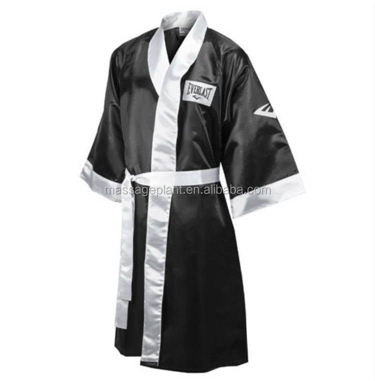 Personalised Boxing Robes: Personalized Silk Black Boxing Robe With Hood