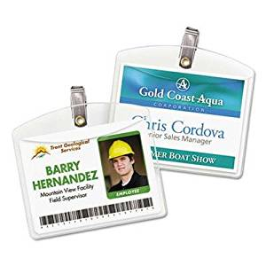 "Avery - Clip-Style Badge Holders Horizontal 4W X 3H Clear 100/Box ""Product Category: Labels Indexes & Stamps/Identification Badges"""