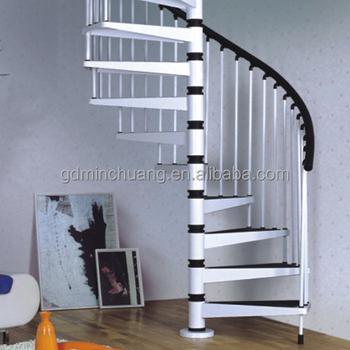 Acero Inoxidable Columna Central Pintura Blanca Interior Moderna - Escaleras-de-caracol-modernas