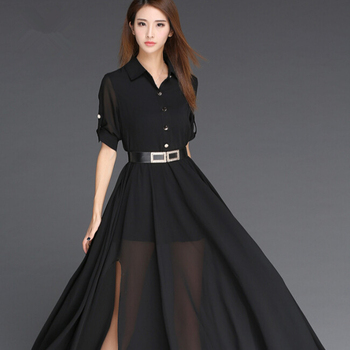 Woman Dress Chiffon 2017 Black And White Long Dress Korea Style