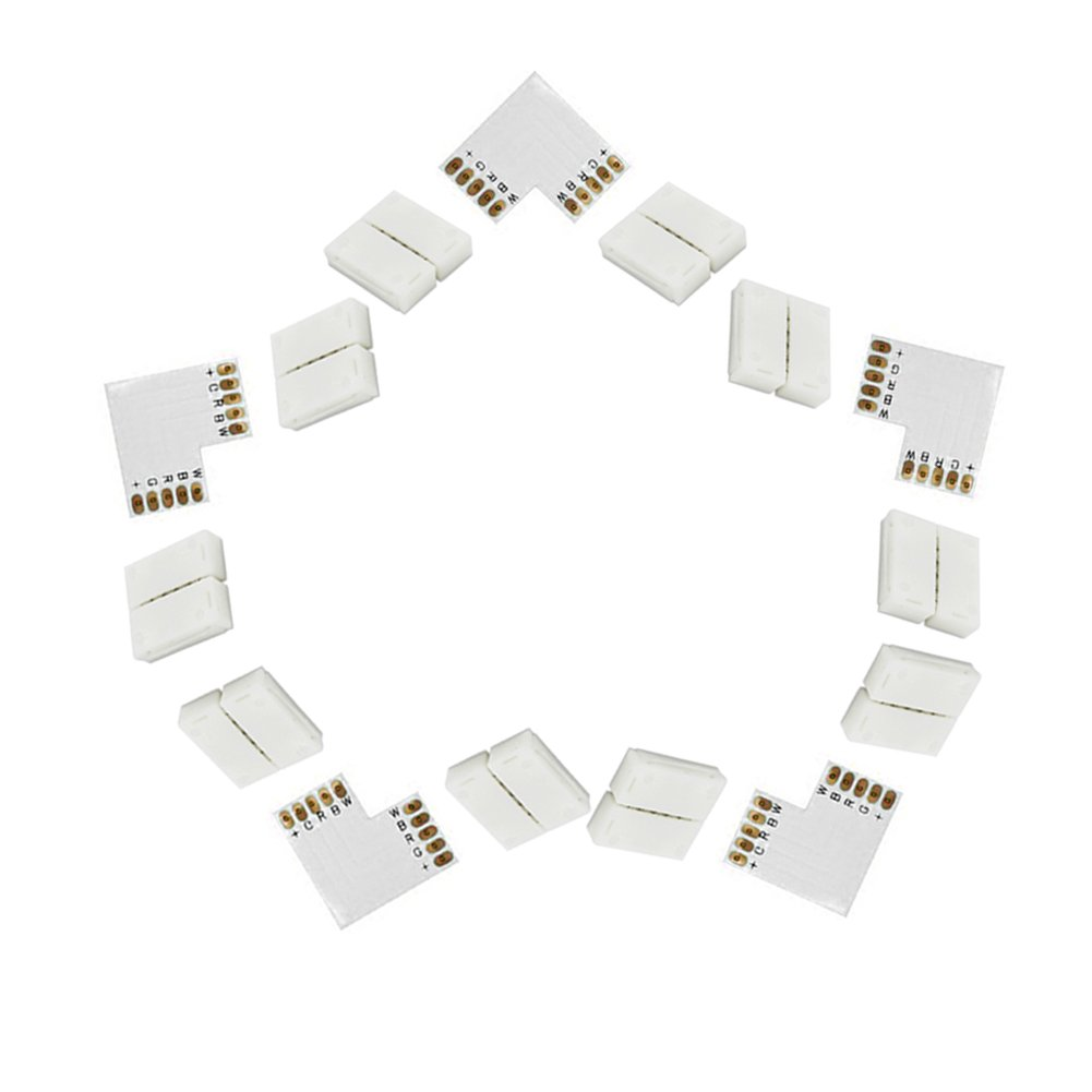 FAVOLCANO 5050 12mm 5pin Led Strip Conncetor Box with Solderless Connector Adapter for SMD5050 RGBW RGBWW 12mm Led Flexible Strip to Strip, No Need Welding (L Type Shape, 5-Pack)