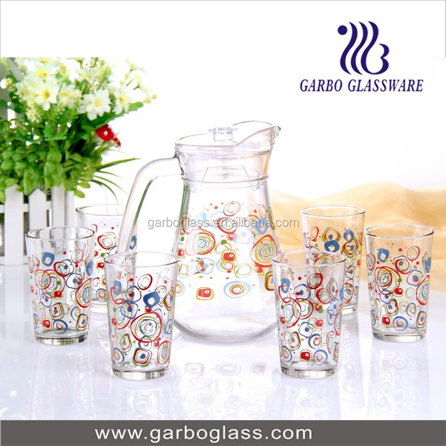 Colorful Printing 7pcs Glass Water Jug Set,Glass Water Pitcher ...