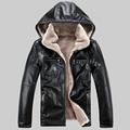 2016 new winter fur leather jacket men plus thick velvet male removable cap leather jacket zipper