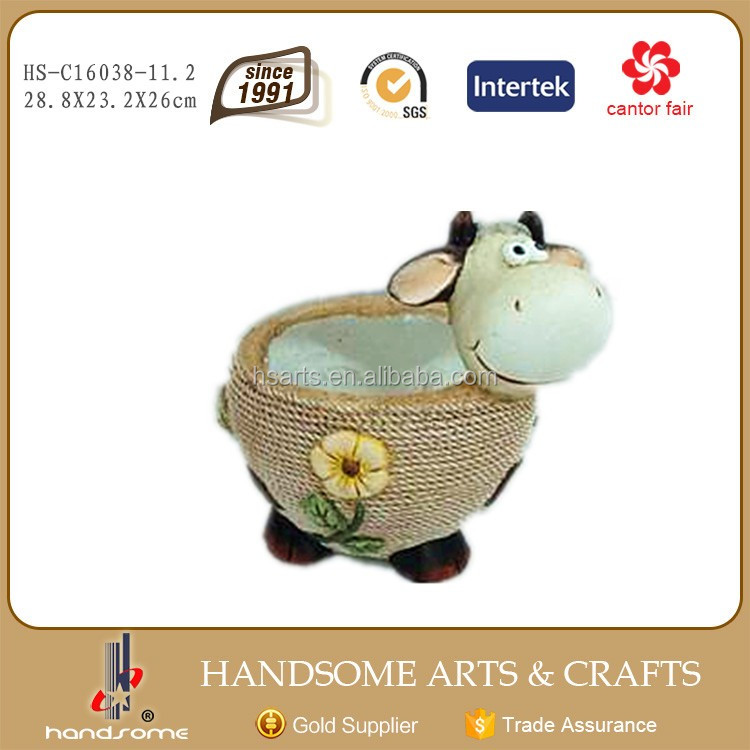11 Inch Resin Outdoor Cow Figurines Animal Statue Flower and Grass Plant Pot