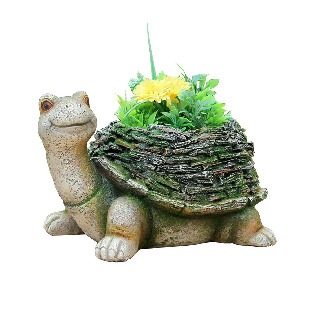 Poly-resin Garden Animals Flower Pots Painting Designs Decorative Turtle