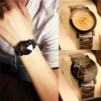 stainless steel quartz analog watch gift item meatl compass watch