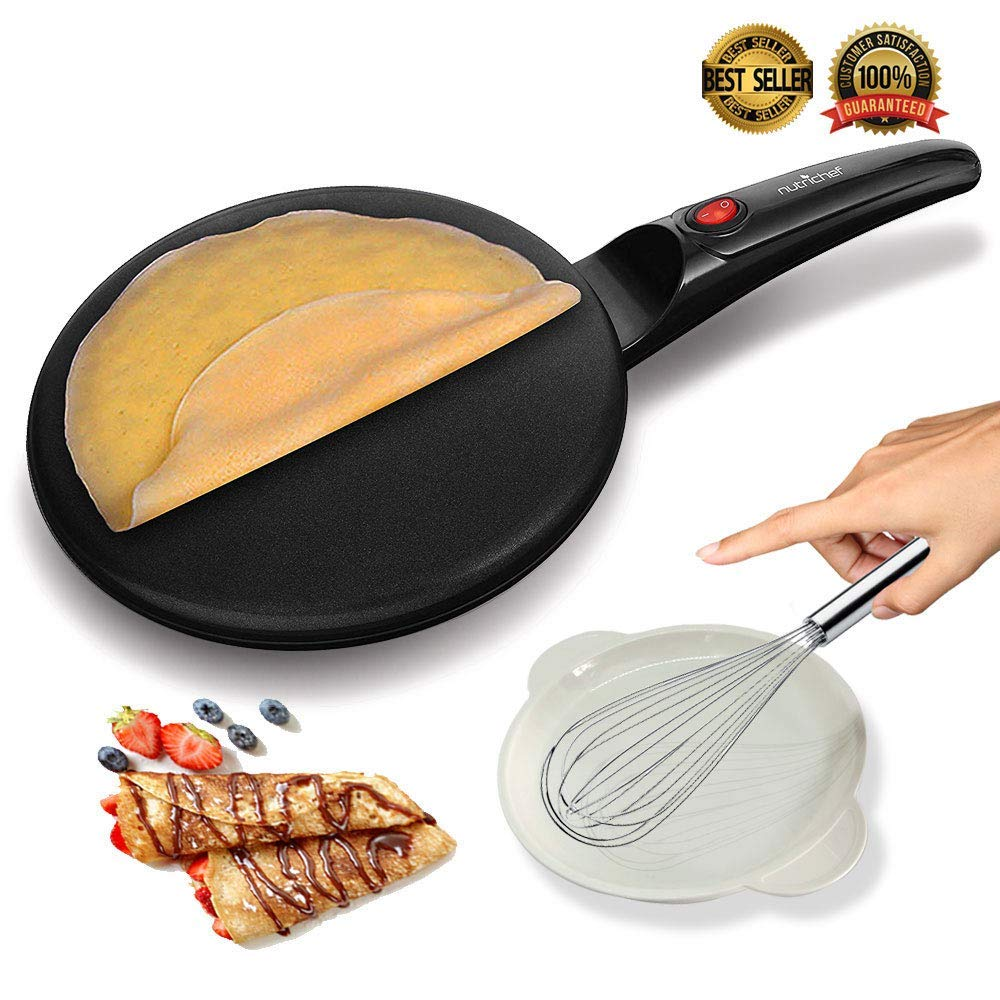Get Quotations Nutrichef Azpkcrm08 Electric Griddle Crepe Maker Cooktop Nonstick 8 Pan Style Hot Plate With