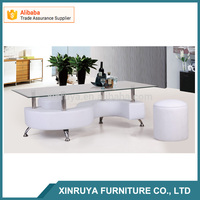 Tempered glass S shape coffee table with stools