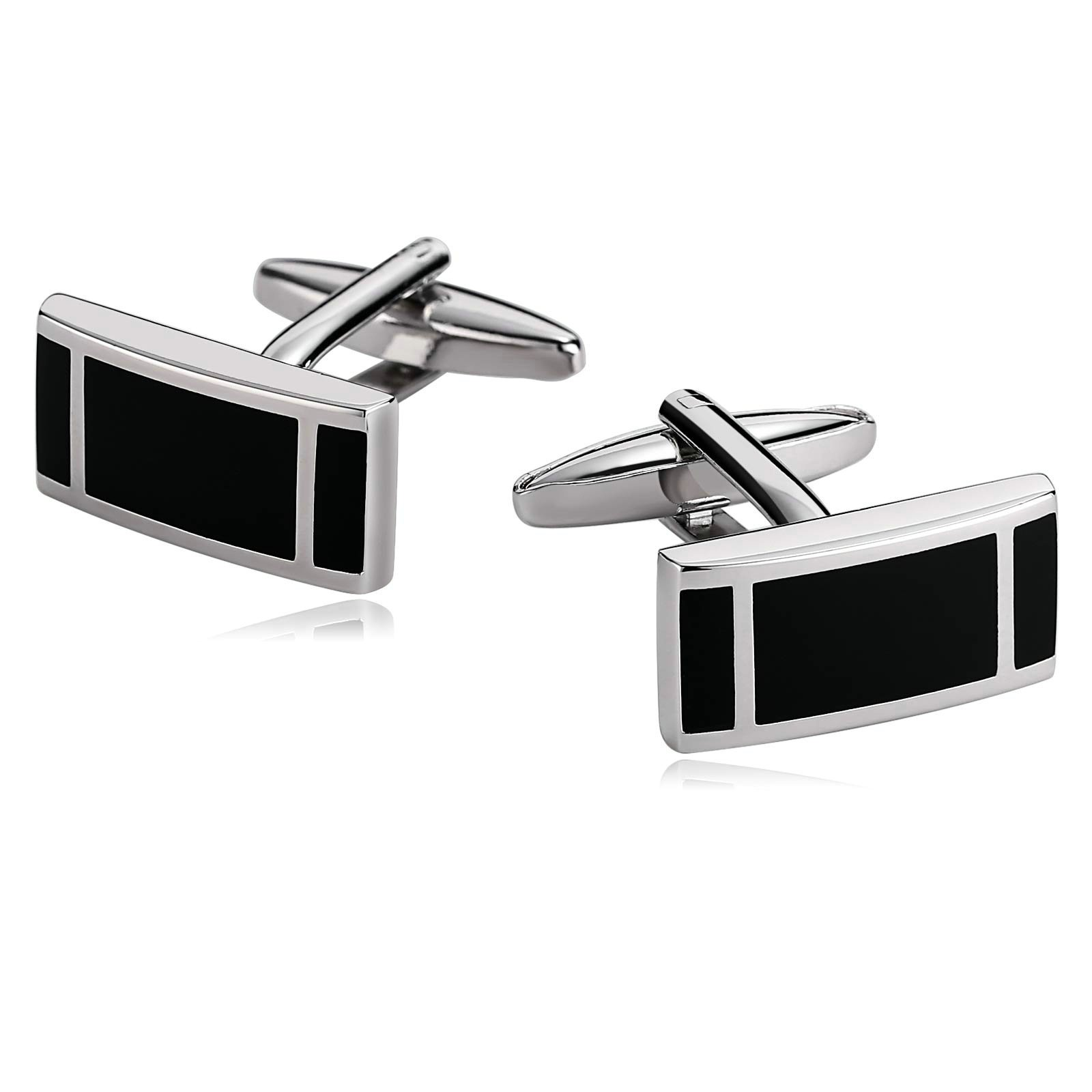 Stacy Adams Mens Silver Rectangle Cuff Link With Mop Horizontal Lines