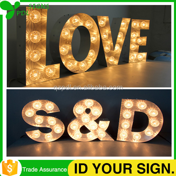 Indoor Decrative Led Large Wooden Letters