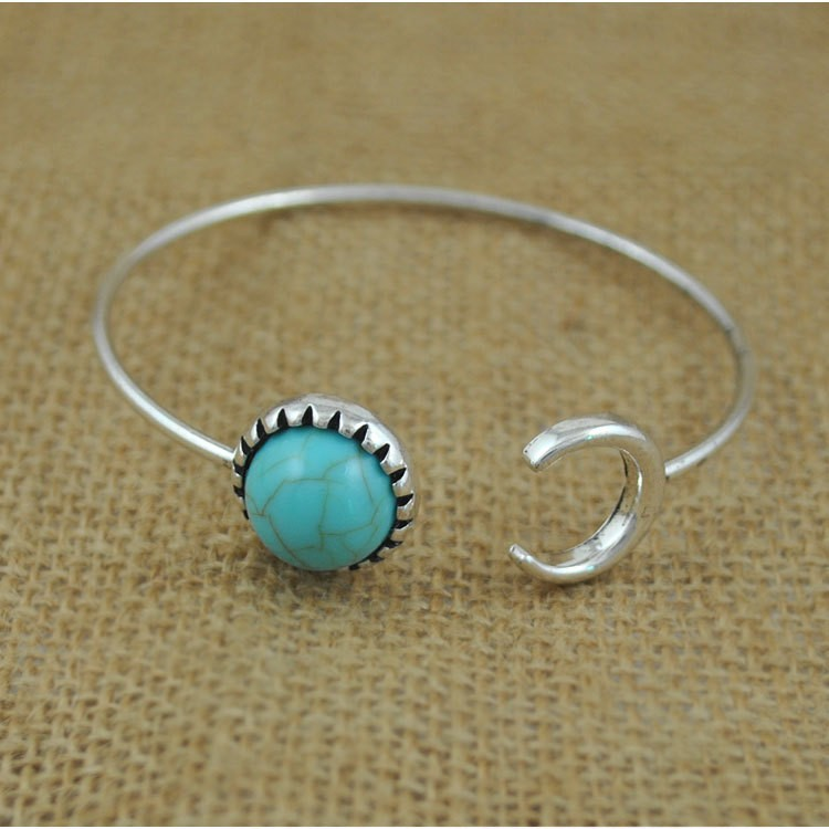 Indian Silver Turquoise Stone Moon and Sun Bracelet cuff bangle