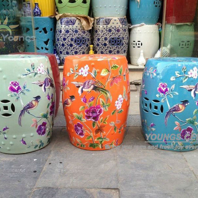 High Temperature Fired Chinese Ceramic Garden Flower Bird Side Table Stools  With 42cm Tall For Retail