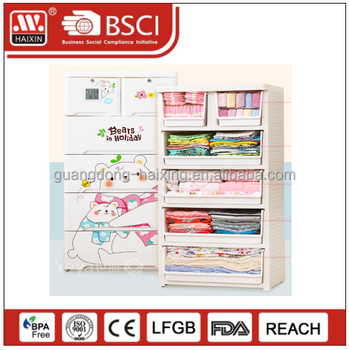 wholesale haixing multi-functional baby plastic drawer storage cabinet baby plastic wardrobe
