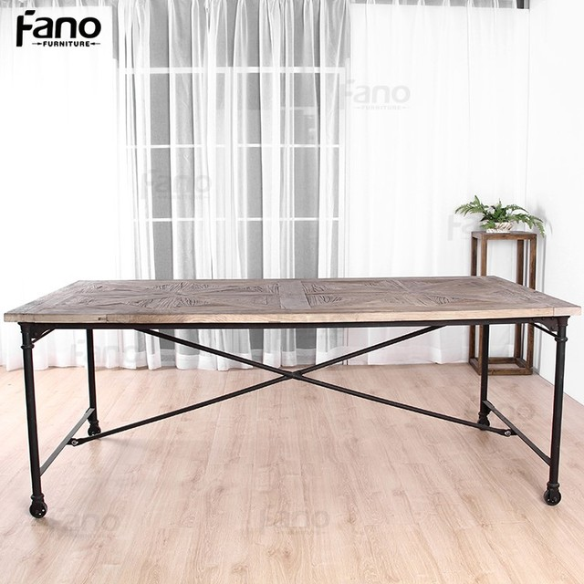 recycled wood dinner table vintage industrial style dining tables with wheels