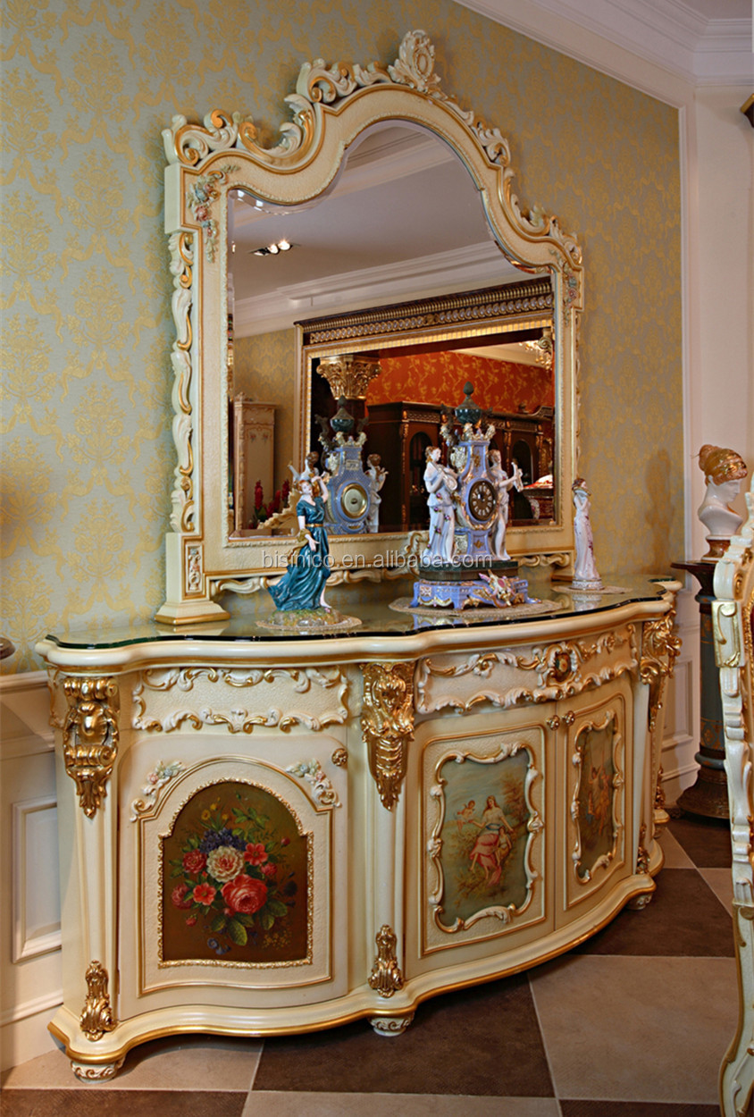 Luxury French Rococo Style White Four Door Glass Display