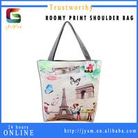 Casual Styles Fashion Women Pu Material Paris Handbag Tote Butterfly Retro Eiffel Tower Wholesale Cheap Print Tote Bag Custom