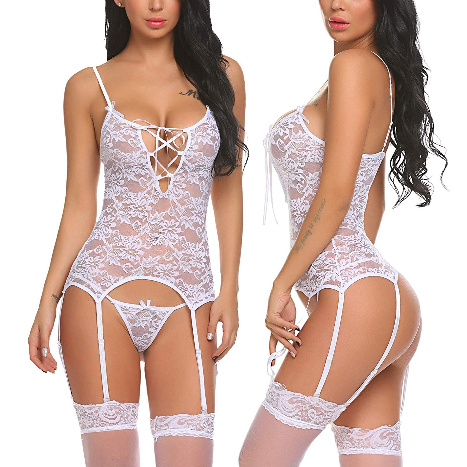 f0399a47a Get Quotations · Legros Babydoll Lingerie Womens Floral Lace Bustier Sets  Mini Teddy Sleepwear S-XXL