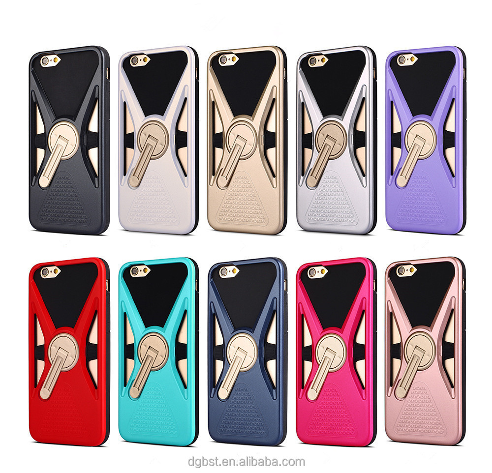 Many Colors Customized 360 Rotating Metal Finger Ring Holder PC Bulk Cell Phone Case For iphone 7
