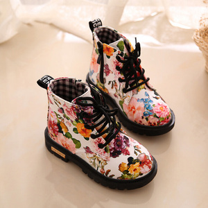 Hot Sale Winter New Fashionable Style Flower Printed Leather Unisex Kids Boots